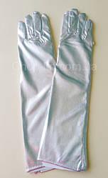 Перчатки женские вечерние, карнавальные серебристые