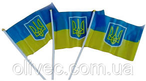 Флажок Украины с гербом 14х20 см.