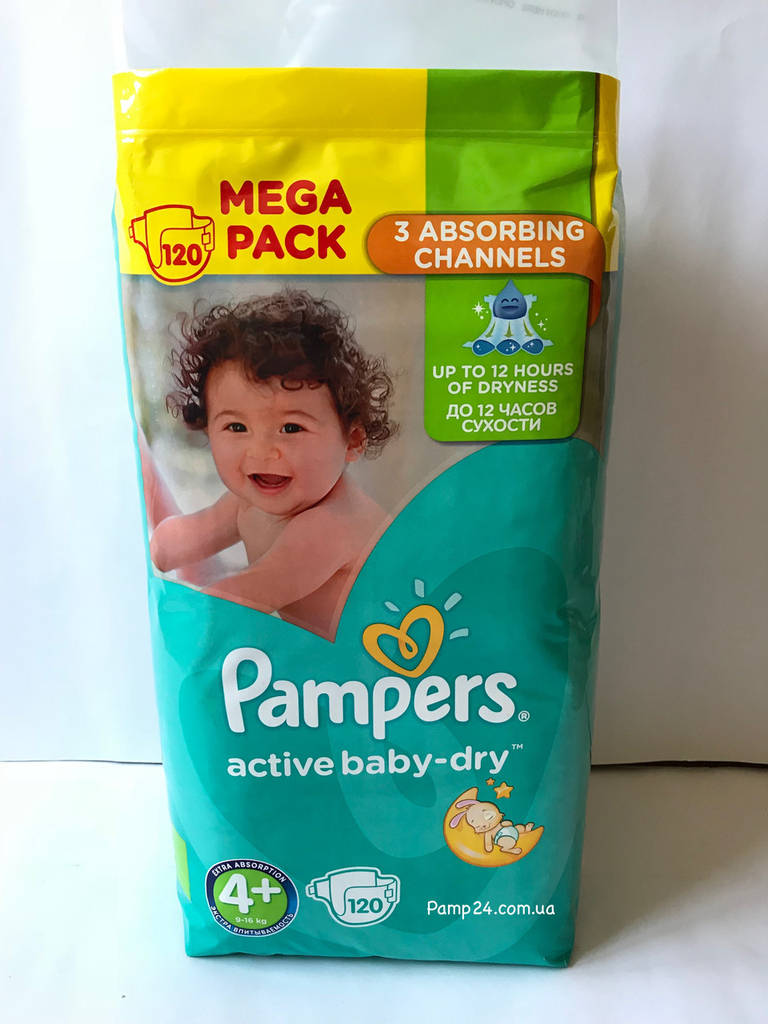 Подгузники Pampers Active Baby Dry - 4+ Maxi Plus 120 шт. (9 - 16 кг.) Mega Pack