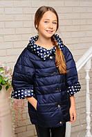 Куртка детская двухсторонняя для девочки Жаклин джинс+в белий горох 140,146см - 38,40р