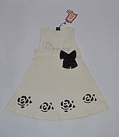 Платье для девочки, украшение бант со стразами, цвет  молочный 6133 Ozzylem 110(р), 3-4 года