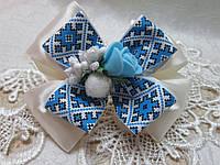 Резиночка для волосся, молочно-блакитна,8-9см