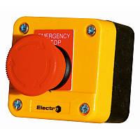 Пост кнопка АВАРИЙНЫЙ ПК722, 10A, 230/400B, (1 красный грибок, корпус - желтый, NC), с фиксацией, IP54, Electro