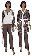 Комплект пеньюар женский домашний с брюками Mindal 02113, р.р.42-56, фото 1