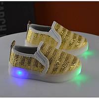 Мокасины детские золотистые LED подошва Размер: 21, фото 1