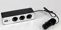 Автомобильный тройник с USB разъемом. , фото 1