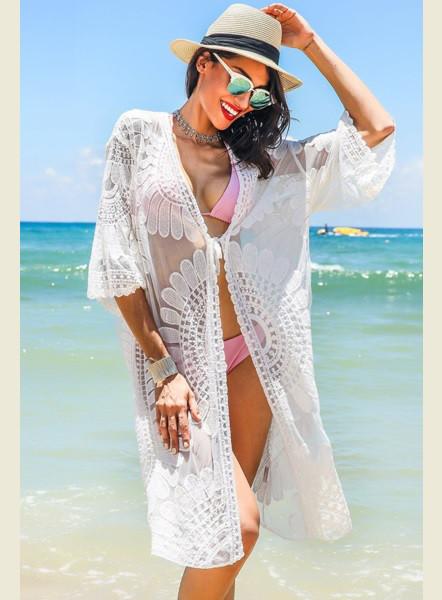 f2753c6b8da80 Ажурная пляжная накидка белого цвета Д-084 - Lace Secret - Магазин женского  белья и