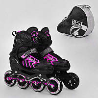 """.Ролики 9015 """"M"""" Pink - Best Roller /размер 35-38/ (6) колёса PU, без света, d=8.4см"""