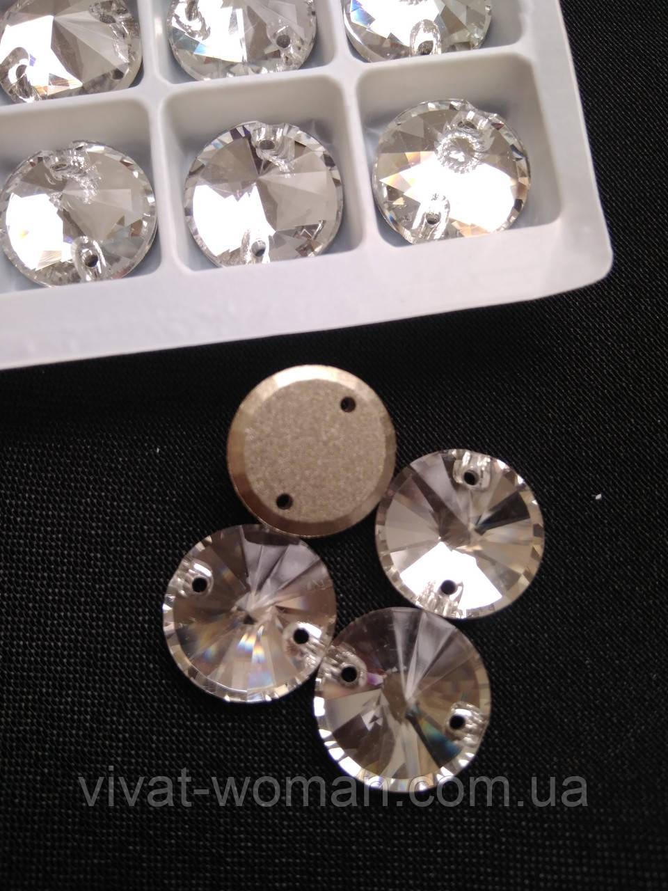 Стразы пришивные Копия Сваровски, Риволи (круг) d 10 мм Crystal, стекло