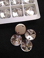 Стразы пришивные Копия Сваровски, Риволи (круг) d 10 мм Crystal, стекло, фото 1