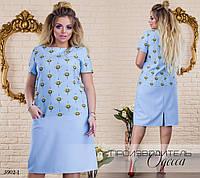 Платье летнее короткий рукав плательный креп 48,50,52-54,56-58,60-62