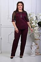 Женский брючный костюм ботальный, рукава сетка манжет украшен камнями+украшение в комплекте