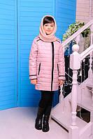 Куртка детская для девочки Маргарита пудра демисезон 122см съемный хомут