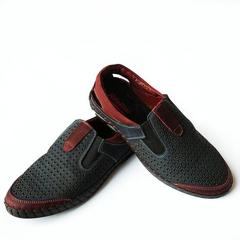Мужская обувь производства Турции от rifellini : летние, кожаные мокасины, синего цвета