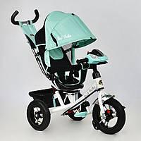 *Велосипед 3-х колёсный BestTrike Бирюзовый арт. 7700 В-5560 (надувные колёса, поворотное сидение, фара, ключ