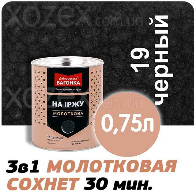 Дніпровська Вагонка Молоткова № 19 Чорна -Емаль 0,75 лт