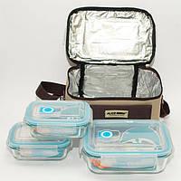 Термосумка, сумка-холодильник с судочками 3 шт, для кемпинга и пикника