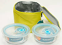 Термосумка, сумка-холодильник с судочками 2 шт, для кемпинга и пикника