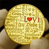 Позолоченная сувенирная монета ''LOVE''