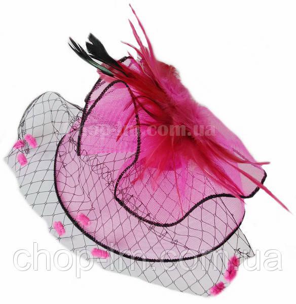 """Вуалетка """"Вечеринка"""" розовая с вуалью"""