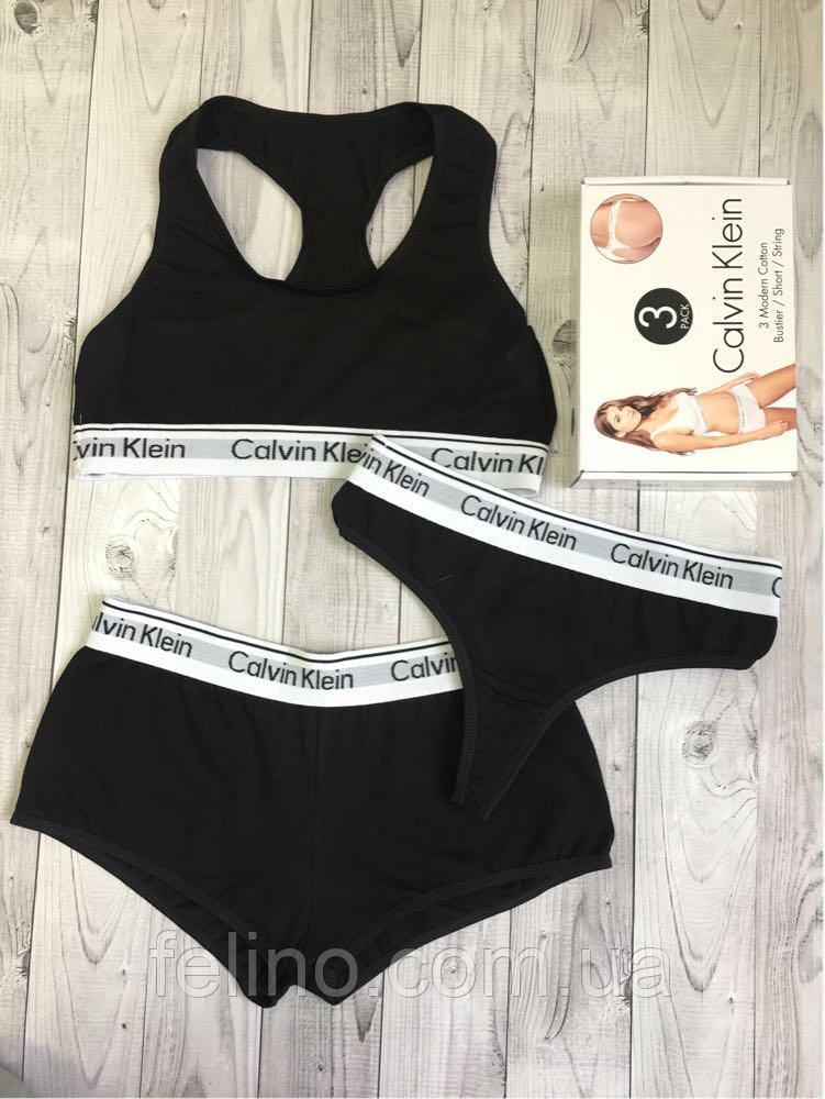 6096f98bdc8a4 Набор женский Calvin Klein тройка (топ+стринги+шорты), черный L, цена  148,80 грн., купить в Хмельницком — Prom.ua (ID#689398624)