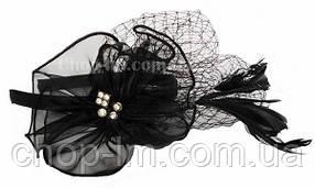 """Вуалетка черная """"Цветок"""", фото 2"""