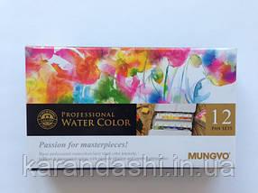 Набор акварельных красок GALLERY в металлическом пенале, 12 цветов, полу кюветы, MUNGYO MWPH12, фото 2