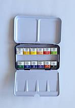 Набор акварельных красок GALLERY в металлическом пенале, 12 цветов, полу кюветы, MUNGYO MWPH12, фото 3