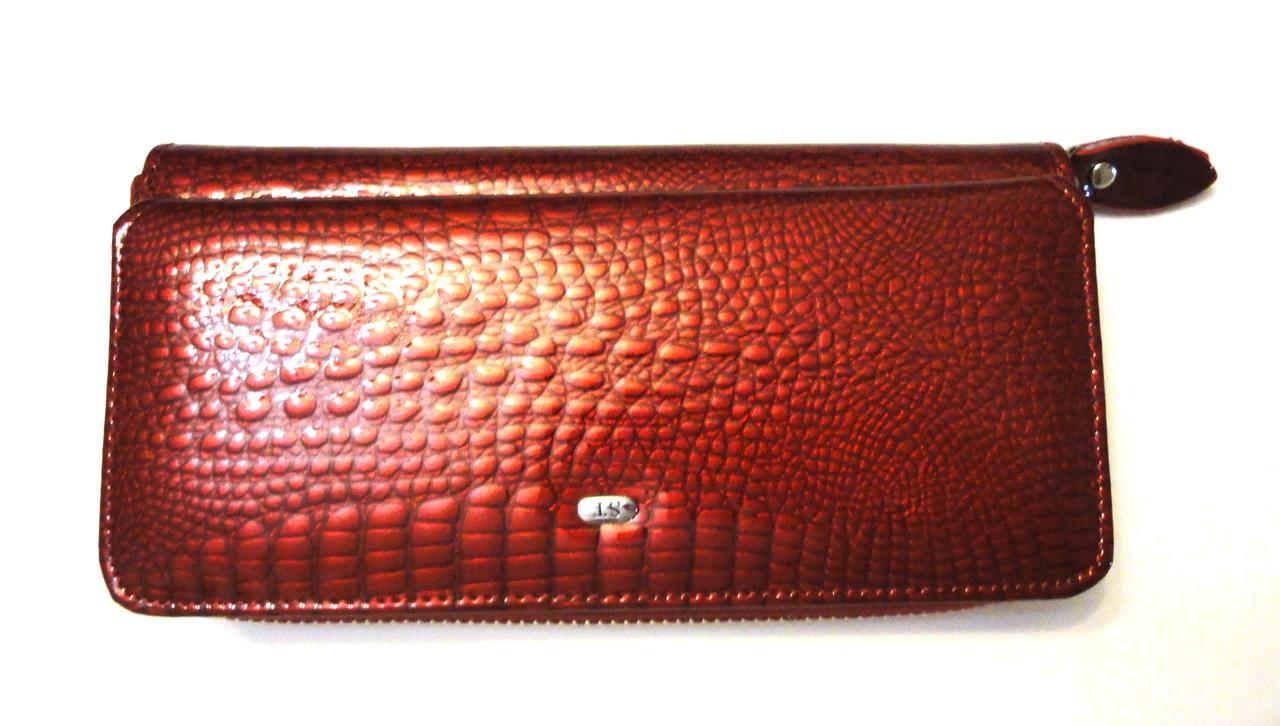 77105f7f3ad7 Женский кожаный кошелек на молнии лак красный - Интернет-магазин