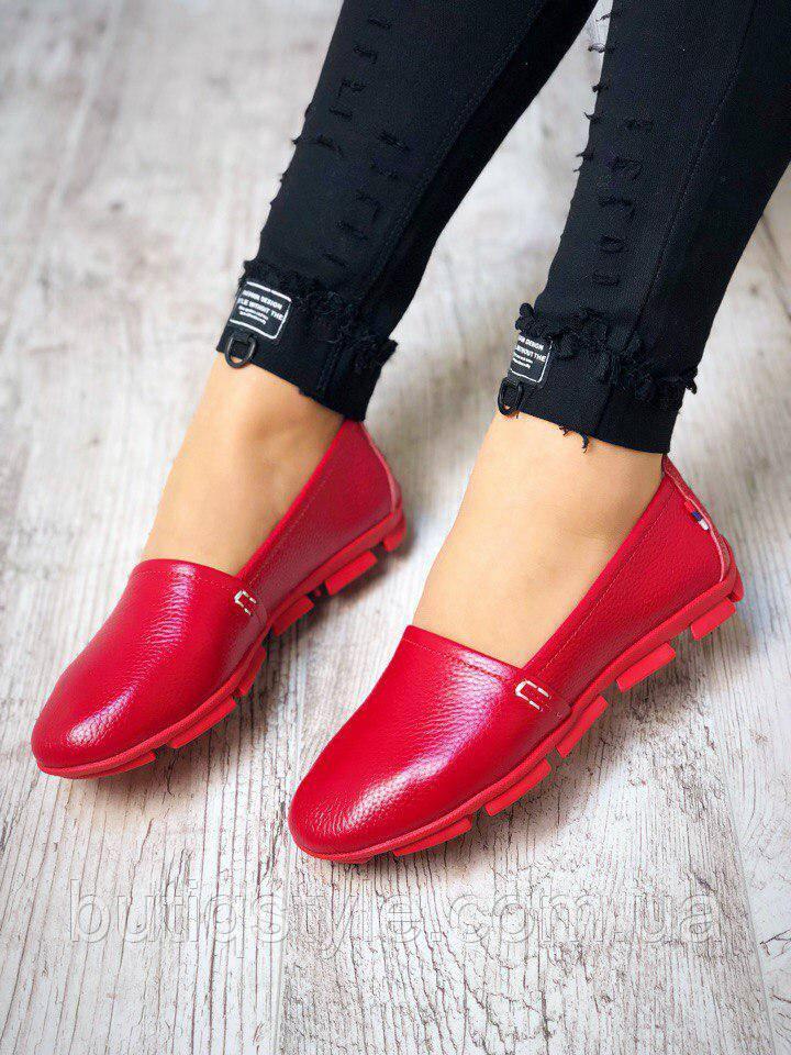 Кожаные женские мокасины Italiano, красный