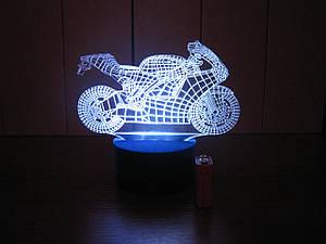 3d-світильник Мотоцикл, 3д-нічник, кілька підсвічувань (на батарейці)