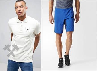 Мужской комплект поло + шорты Nike белого и голубого цвета (люкс копия)