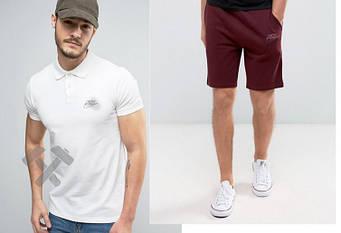 Мужской комплект поло + шорты Nike белого и красного цвета (люкс копия)