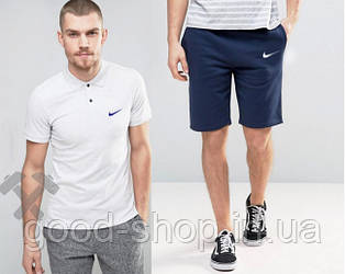 Мужской комплект поло + шорты Nike белого и синего цвета (люкс копия)