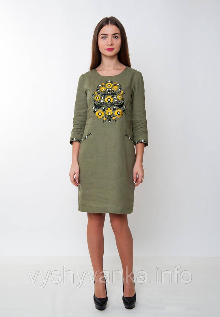 edd60b485708f03 Молодежное платье с вышивкой, оливковое, арт. 4165 - Интернет магазин