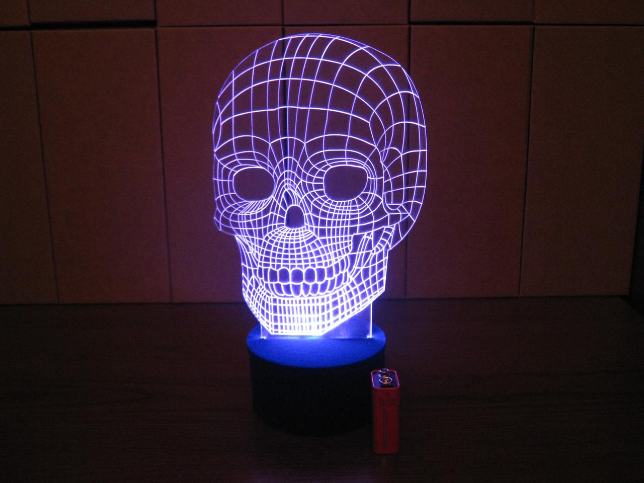 3d-светильник Череп, 3д-ночник, несколько подсветок (на батарейке), брутальный подарок