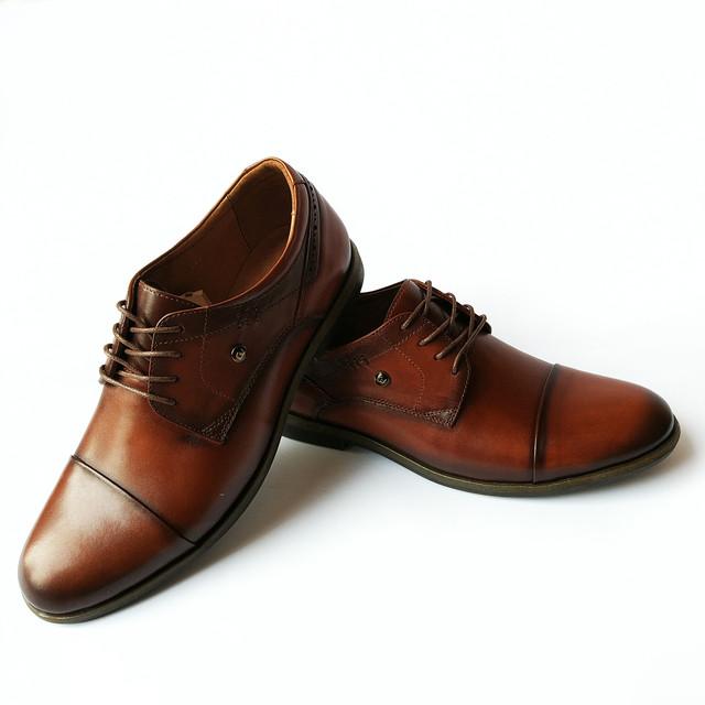Мужская, кожаная Cevivo обувь Харьков коричневые туфли, тонированные, на шнуровке, классические