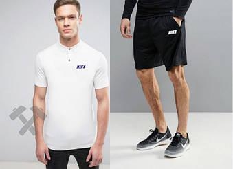 Мужской комплект поло + шорты Nike белого и черного цвета (люкс копия)
