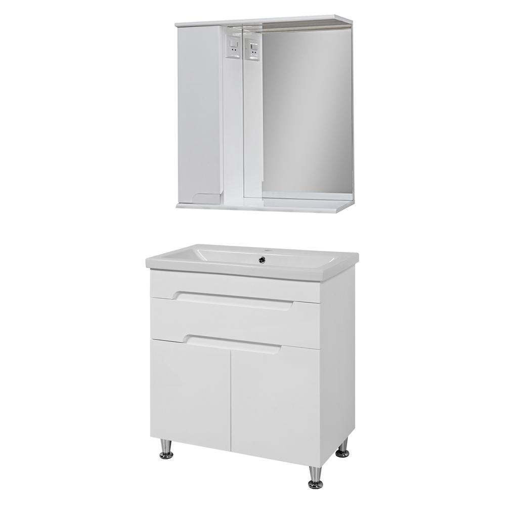 Комплект мебели для ванной комнаты Симпл-Белый 70-14-70-17 с зеркалом ПИК