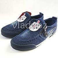 Модные детские джинсовые мокасины для мальчиков синие Fashion 32р.