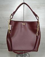 Бордовая сумка-мешок W54107 с ручкой и ремешком через плечо