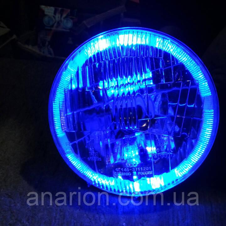 Передняя оптика на ВАЗ 2101 с ангельскими глазками синего цвета №2  .