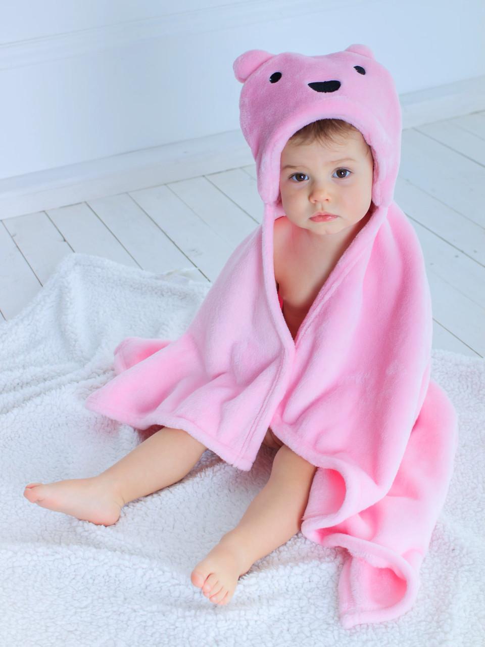 Детское полотенце с капюшоном Dream Towels Мишка 76х92 Розовый (dm-1001)