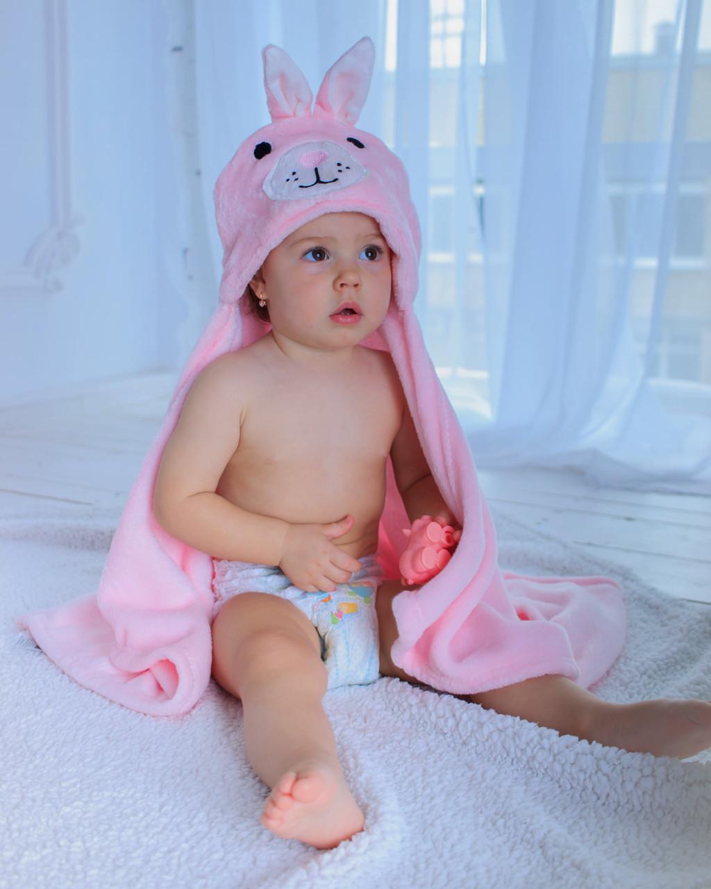 Детское полотенце с капюшоном Dream Towels Зайчик 76х92 Розовый (dm-1013)