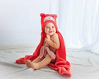 Детское полотенце с капюшоном Dream Towels Медвежонок 76х92 Кораловый (dm-1015)