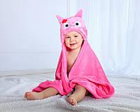 Детское полотенце с капюшоном Dream Towels Сова 76х92 Розовый (dm-1017)