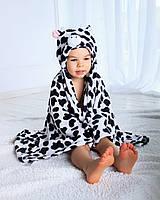 Детское полотенце с капюшоном Dream Towels Коровка 76х92 Черно-белый (dm-1018)