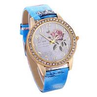 Часы наручные женские с голубым ремешком код 142