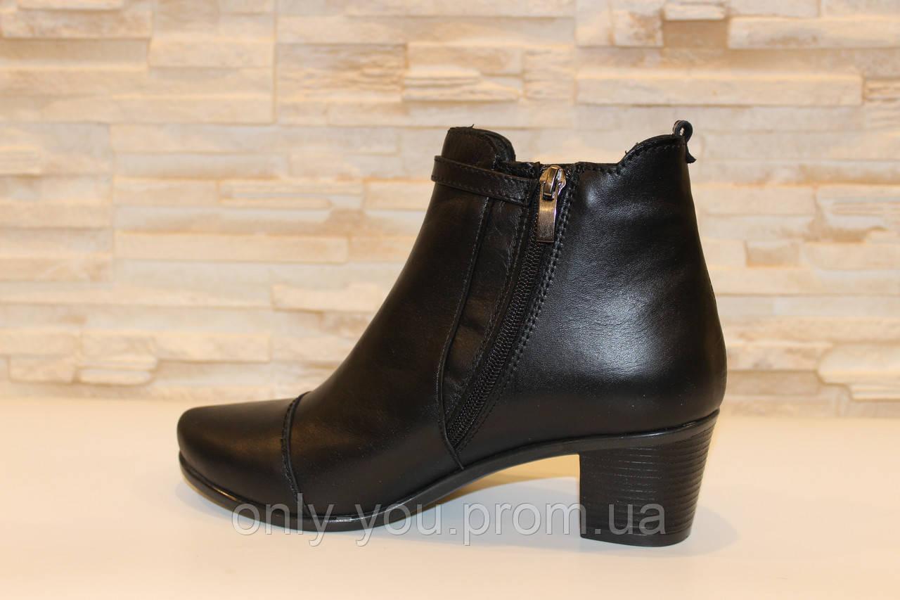 Ботильоны женские черные на каблуке натуральная кожа Д520 р 39 40, ... 838f7547de6