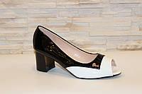 Туфли летние женские белые с черным Б902 р 36 37 38 39 40 41